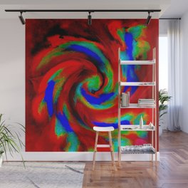 Red Blue Green Fireball Sky Explosion Wall Mural