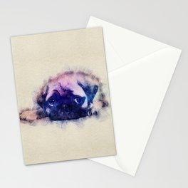 Pug puppy Sketch  Digital Art Stationery Cards