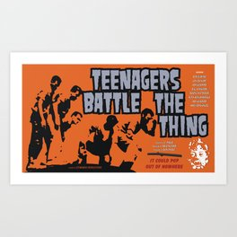 Teenagers Battle The Thing Art Print