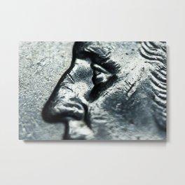 Closeup of Quarter dollar coin with Wahsington face Metal Print