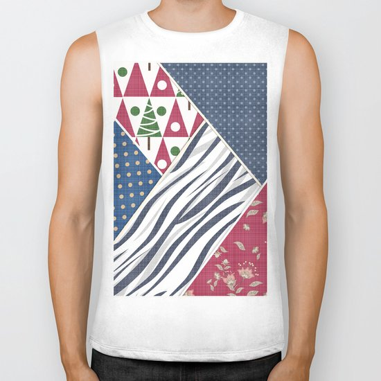 Abstract pattern .Textile patchwork patchwork . Biker Tank