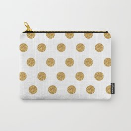 Gold Glitter Polka Dots Carry-All Pouch