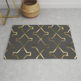 Gold and dark gray geometric pattern Rug