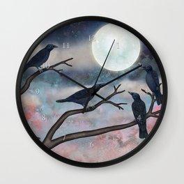 crows, moths, moon Wall Clock