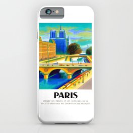 1957 Paris Notre Dame Cathedral French Travel Poster iPhone Case