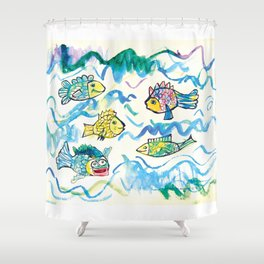 Funny fishes Shower Curtain