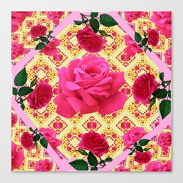 PINK & RED GARDEN ROSES PATTERN PINK ABSTRACT Canvas Print