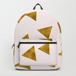 Soft Pink And Rustic Gold Triangles Backpack