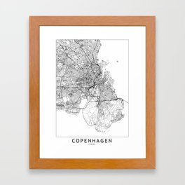 Copenhagen White Map Framed Art Print