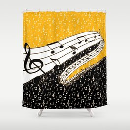Gold music theme Shower Curtain