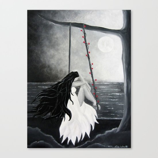 Black and white painting art print Woman Female Moon Dreams midnight dreamy Canvas Print