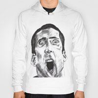 nicolas cage Hoodies featuring NICOLAS CAGE in CHARCOAL face/off face off film movie cult by Radiopeach
