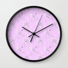Flowers on a lilac kolor 3 Wall Clock