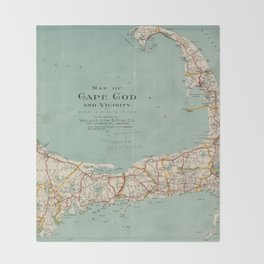 Vintage Map of Cape Cod (1917) Throw Blanket