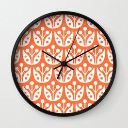 Mid Century Flower Pattern 4 Wall Clock