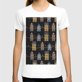 A row of illuminated houses pattern design T-shirt