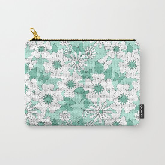 Turquoise floral pattern . Carry-All Pouch