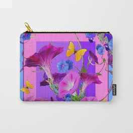 BUTTERFLIES & PURPLE-BLUE MORNING GLORY VINES  PINK VINETTE Carry-All Pouch