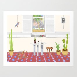 Front Porch with Wine During Minor Disagreement Art Print