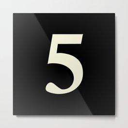 5 (BEIGE & BLACK NUMBERS) Metal Print