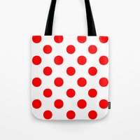 polka dots Tote Bags featuring Polka Dots (Red/White) by 10813 Apparel