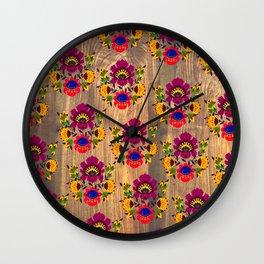 Purple folk flowers pattern Wall Clock
