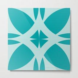 Abstract Flower Diamond - Ocean Metal Print