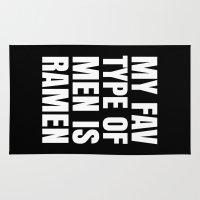 ramen Area & Throw Rugs featuring My Fav Type of Men is Ramen (Black & White) by CreativeAngel