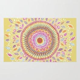 Yellow Sunflower Mandala Rug