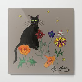 Black cat Le Chat Metal Print