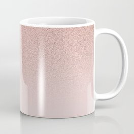 Trendy Rose Gold Faux Glitter Blush Pink Ombre Color Block Coffee Mug