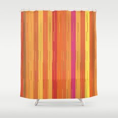 Orange and Yellow Stripes and Lines Abstract Shower Curtain