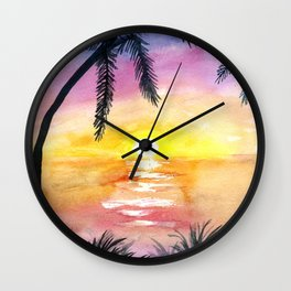 Sunset Silhouette Watercolor Wall Clock