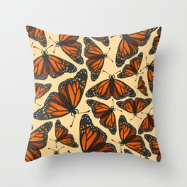 Yellow Monarch Butterfly Throw Pillow