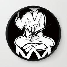 black and white buddha Wall Clock