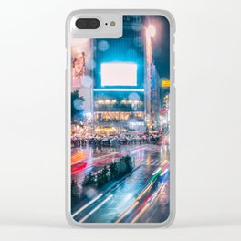 Rainy Night at Shibuyacrossing - throught the window Clear iPhone Case