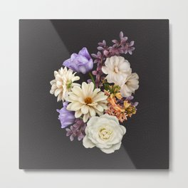 Bouquet of white roses, lilac tulips and dahlias on dark background. Metal Print
