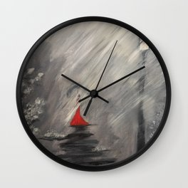 Lady in red - Rainy day Wall Clock