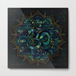 Namaste Word Art in Lotus with OM symbol Metal Print