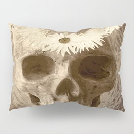 Skull Human Vintage Flowers Digital Collage 2 Pillow Sham