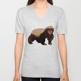 Honey badger illustration Unisex V-Neck