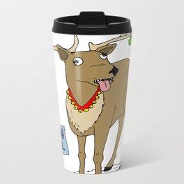 Christmas Reindeer Metal Travel Mug