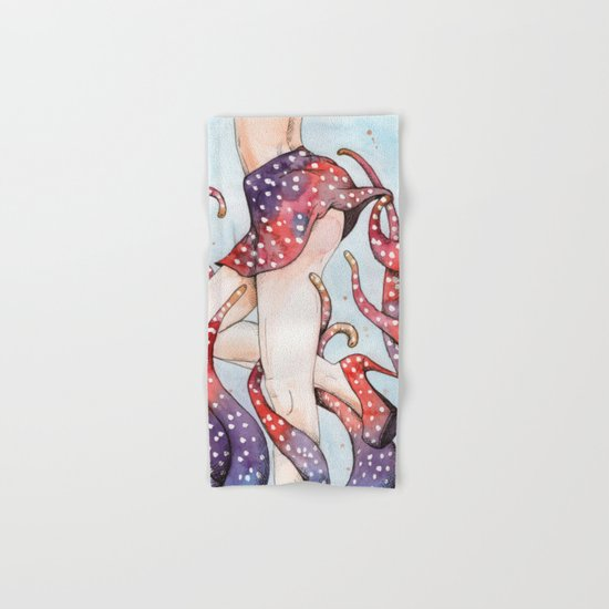 peeking tentacle Hand & Bath Towel