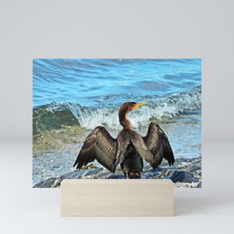 Cormorant Dries off in front of the Sea Mini Art Print