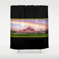 thailand Shower Curtains featuring Chinese Temple Sunset Thailand by Urbex :: Siam