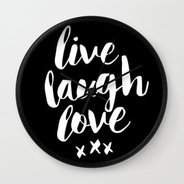 Live Laugh Love black and white monochrome typography poster design home wall decor canvas Wall Clock