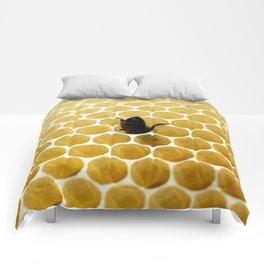 Bee in the honeycomb Comforters