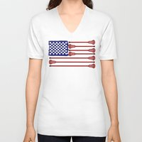 lacrosse V-neck T-shirts featuring Lacrosse AmericasGame by YouGotThat.com