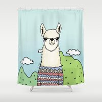 lama Shower Curtains featuring Lama glama by Pinut Brein