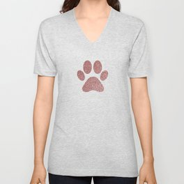 Paws - Gold Confetti On Strips With Rose Gold Paw Unisex V-Neck